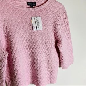 Topshop Tops - NWT TOPSHOP Pink Hexagon Quilted Top Size 8